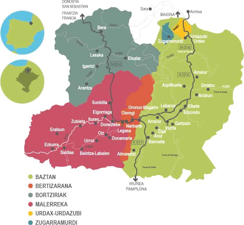 Mapa Baztan Bidasoa