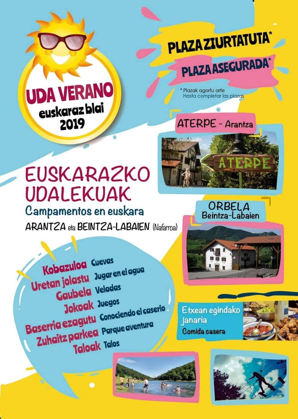 Folleto Euskarazblai Udalekuak, campamentos de verano en euskara